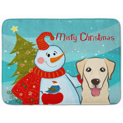 Snowman with Retriever Rectangle Memory Foam Bath Rug