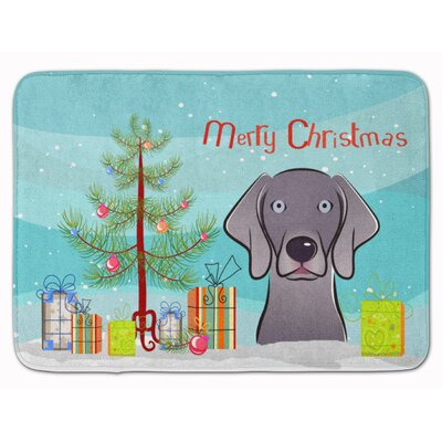 Christmas Tree and Weimaraner Memory Foam Bath Rug