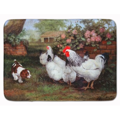 Chickens Hens and Puppy Memory Foam Bath Rug