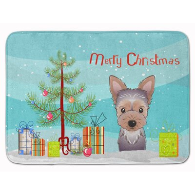 Christmas Tree and Yorkie Puppy Memory Foam Bath Rug