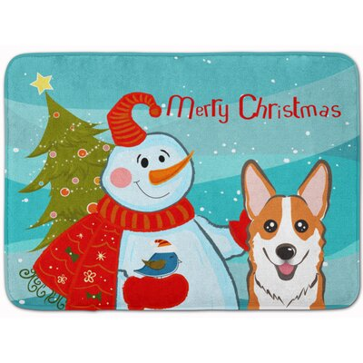 Snowman with Sable Corgi Memory Foam Bath Rug Color: Red/White