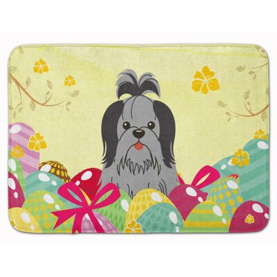 Easter Eggs Shih Tzu Silver Memory Foam Bath Rug Color: Black/Silver