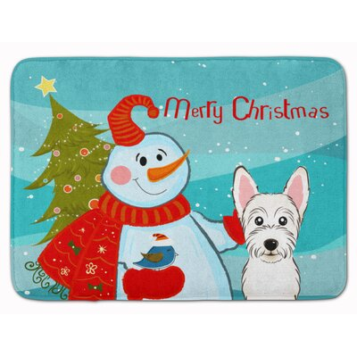 Snowman with Westie Memory Foam Bath Rug