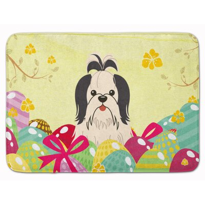 Easter Eggs Shih Tzu Silver Memory Foam Bath Rug Color: Black/White