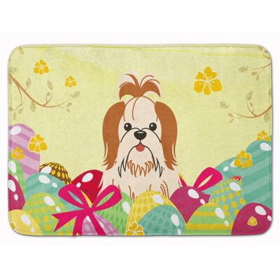 Easter Eggs Shih Tzu Silver Memory Foam Bath Rug Color: Red/White