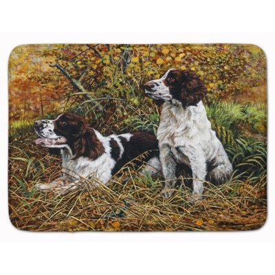 Two Springer Spaniels in the grasses Memory Foam Bath Rug
