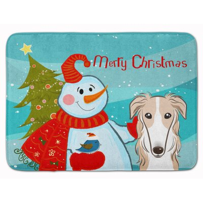 Snowman with Borzoi Memory Foam Bath Rug
