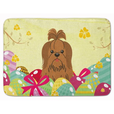 Easter Eggs Shih Tzu Silver Memory Foam Bath Rug Color: Sliver/Chocolate
