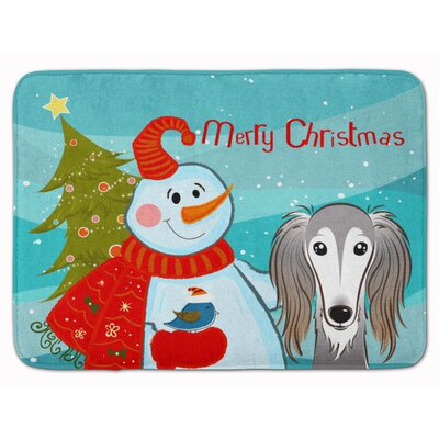 Snowman with Saluki Memory Foam Bath Rug