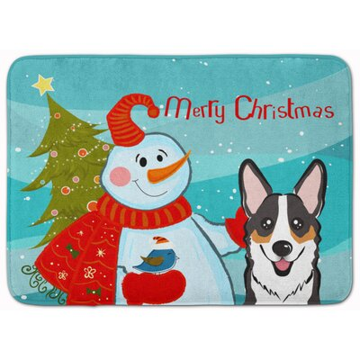 Snowman with Tricolor Corgi Memory Foam Bath Rug
