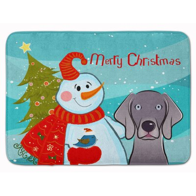 Snowman with Weimaraner Memory Foam Bath Rug