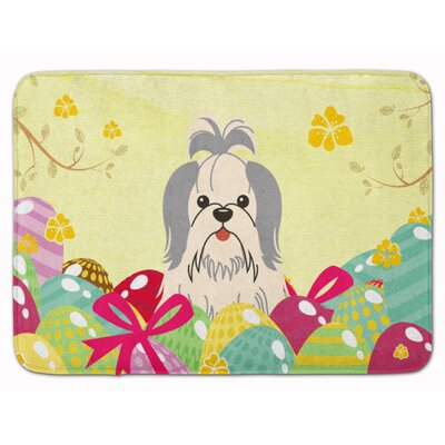 Easter Eggs Shih Tzu Silver Memory Foam Bath Rug Color: White