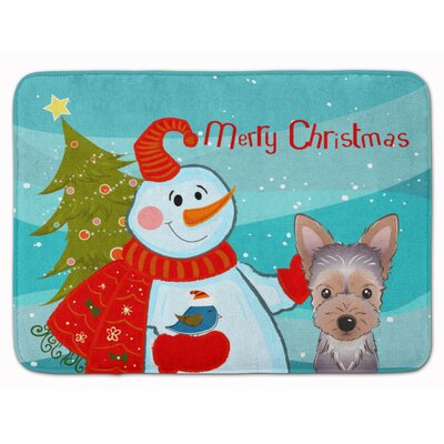 Snowman with Yorkie Puppy Memory Foam Bath Rug