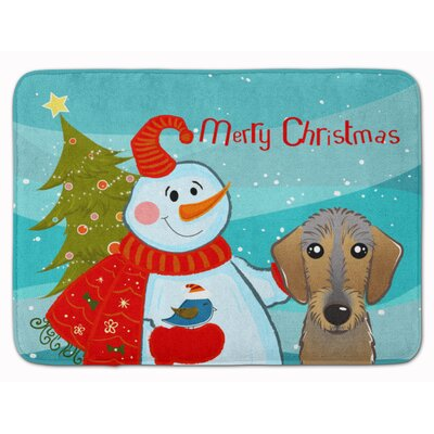 Snowman with Wirehaired Dachshund Memory Foam Bath Rug