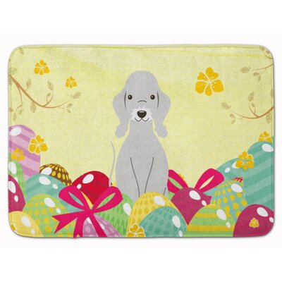 Easter Eggs Bedlington Terrier Memory Foam Bath Rug Color: Blue