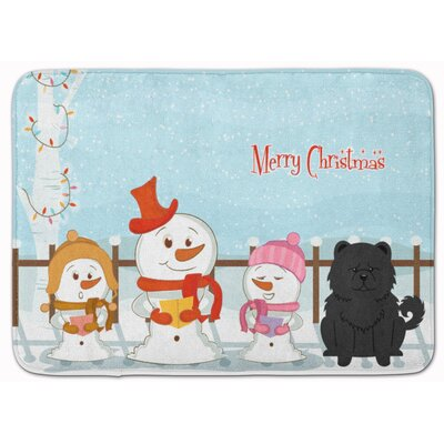 Merry Christmas Chow Chow Memory Foam Bath Rug Color: Black