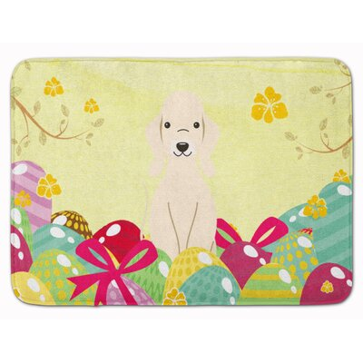 Easter Eggs Bedlington Terrier Memory Foam Bath Rug Color: White