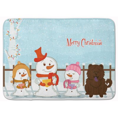Merry Christmas Chow Chow Memory Foam Bath Rug Color: Chocolate