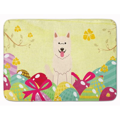 Easter Eggs White German Shepherd Memory Foam Bath Rug