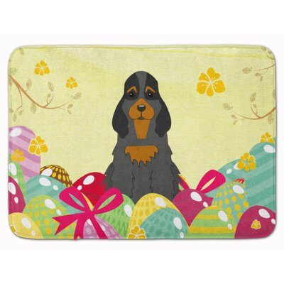 Easter Eggs Cocker Spaniel Memory Foam Bath Rug Color: Black/Tan