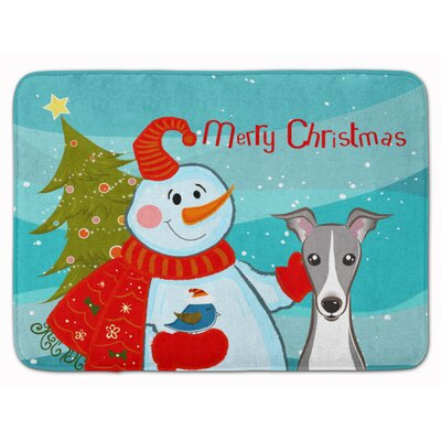 Snowman with Italian Greyhound Memory Foam Bath Rug