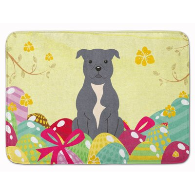 Easter Staffordshire Bull Terrier Memory Foam Bath Rug Color: Blue
