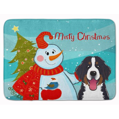 Snowman with Bernese Mountain Dog Memory Foam Bath Rug