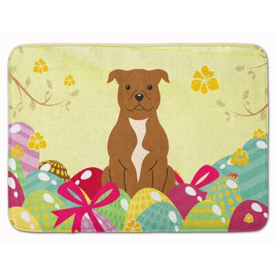 Easter Staffordshire Bull Terrier Memory Foam Bath Rug Color: Brown