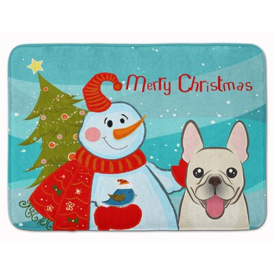 Snowman with French Bulldog Memory Foam Bath Rug