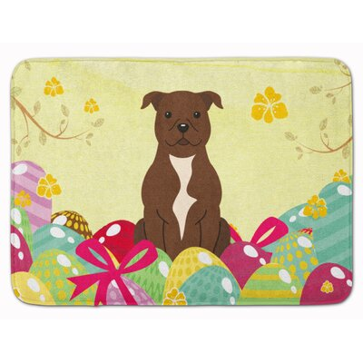Easter Staffordshire Bull Terrier Memory Foam Bath Rug Color: Chocolate