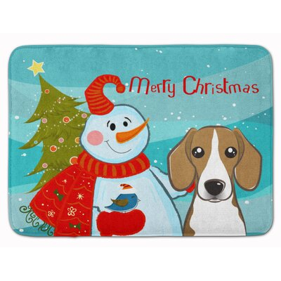 Snowman with Beagle Memory Foam Bath Rug