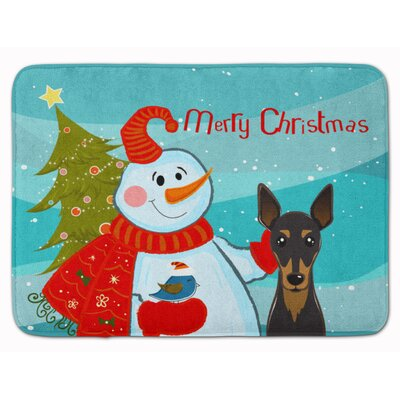 Snowman with Min Pin Memory Foam Bath Rug