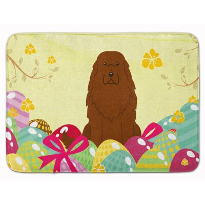 Easter Eggs Caucasian Shepherd Dog Memory Foam Bath Rug
