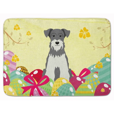 Easter Eggs Miniature Schanuzer Memory Foam Bath Rug Color: Gray
