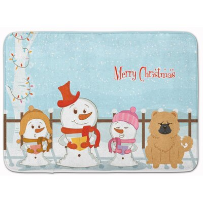 Merry Christmas Chow Chow Memory Foam Bath Rug Color: Cream