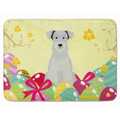 Easter Eggs Miniature Schanuzer Memory Foam Bath Rug Color: White