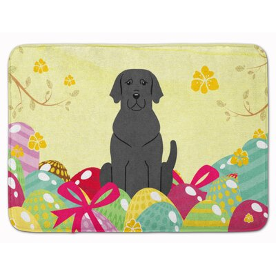 Easter Eggs Labrador Memory Foam Bath Rug Color: Black