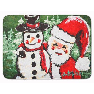 Friends Snowman and Santa Claus Memory Foam Bath Rug