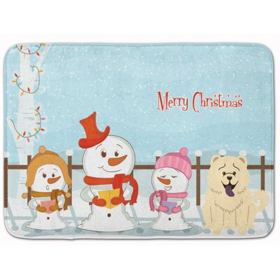 Merry Christmas Chow Chow Memory Foam Bath Rug Color: White
