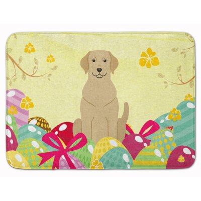 Easter Eggs Labrador Memory Foam Bath Rug Color: Yellow