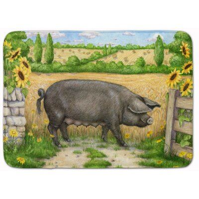 Jonah Pig with Sunflowers Memory Foam Bath Rug