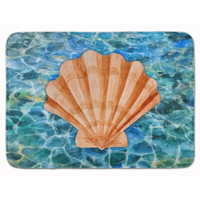 Belhaven Scallop Shell and Water Memory Foam Bath Rug