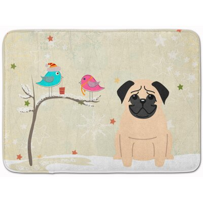 Christmas Presents Friends Pug Fawn Memory Foam Bath Rug
