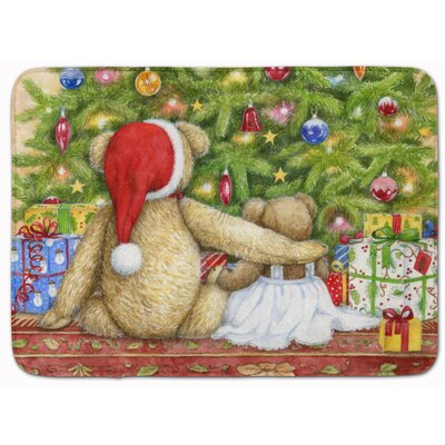 Christmas Teddy Bears with Tree Memory Foam Bath Rug