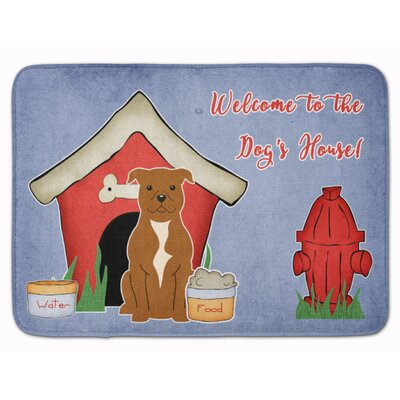 Dog House Staffordshire Bull Terrier Memory Foam Bath Rug Color: Brown