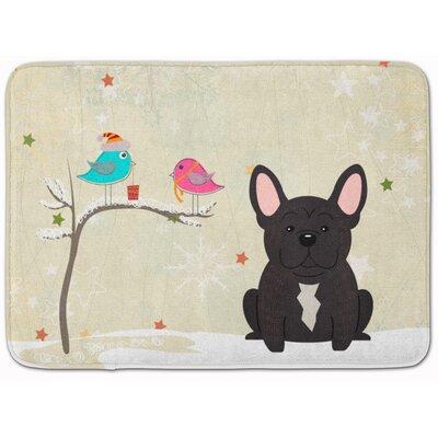 Christmas French Bulldog Brindle Memory Foam Bath Rug