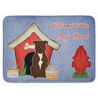 Dog House Staffordshire Bull Terrier Memory Foam Bath Rug Color: Chocolate