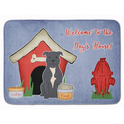 Dog House Staffordshire Bull Terrier Memory Foam Bath Rug Color: Gray