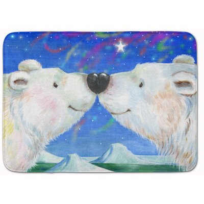 Polar Bears Polar Kiss by Debbie Cook Memory Foam Bath Rug