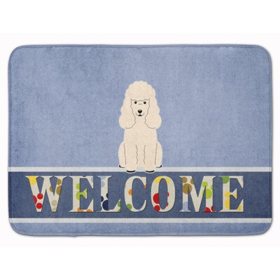 Poodle Welcome Memory Foam Bath Rug Color: White